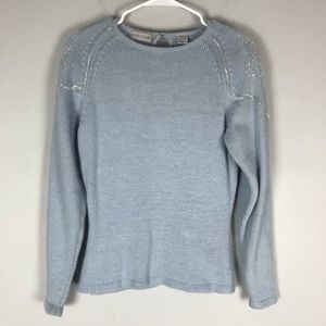 Sarah Taylor silk angora beaded sweater blue